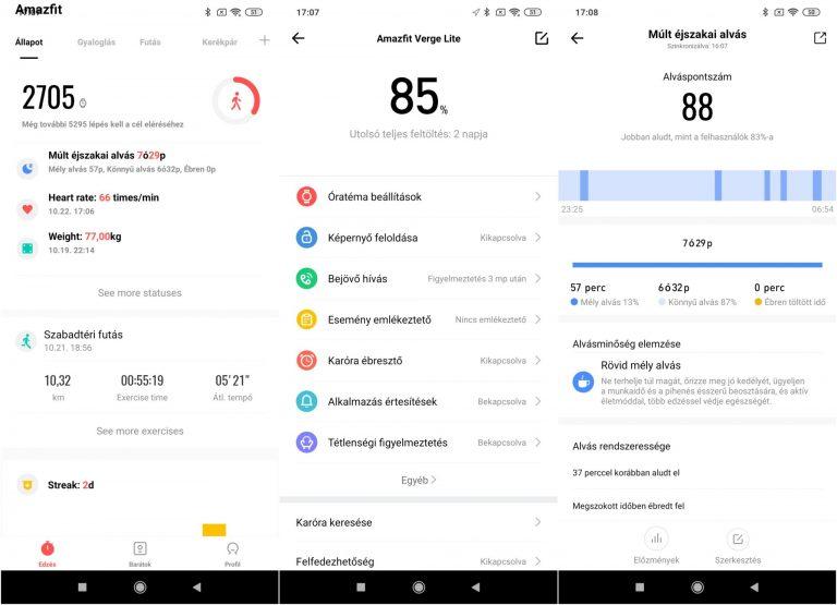 Xiaomi Amazfit Verge Lite okosóra teszt 13