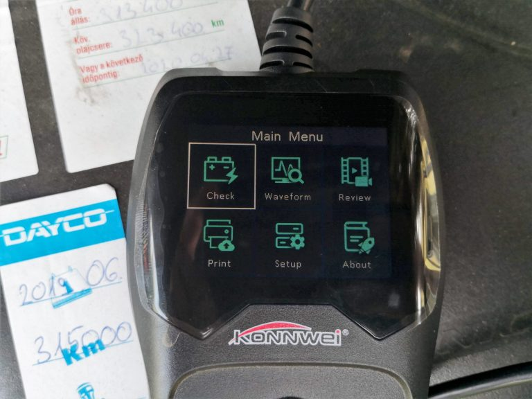 Konwei KW600 akkumulátor teszter teszt 9