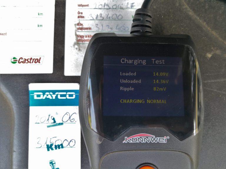 Konwei KW600 akkumulátor teszter teszt 13