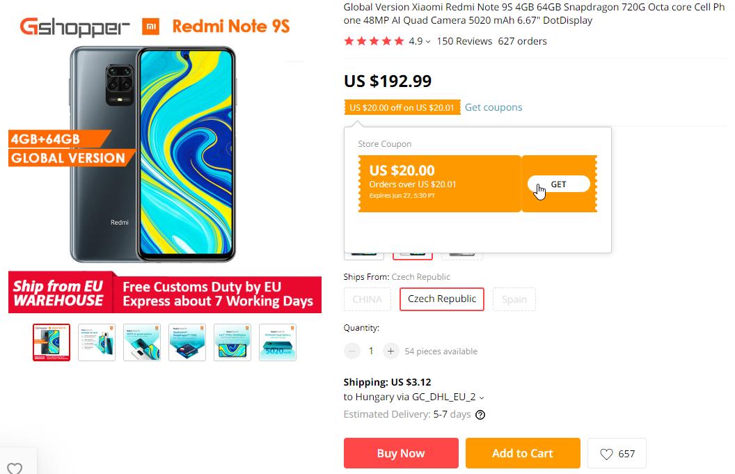 Lezuhant a Redmi Note 9S ára Aliexpressen 2