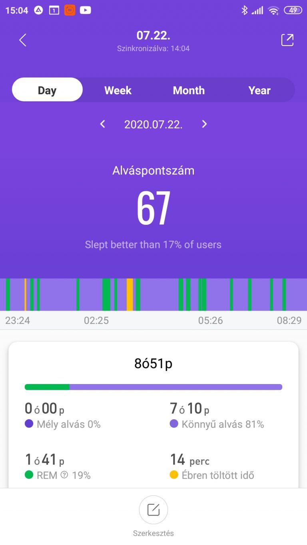 Xiaomi Mi Band 5 aktivitásmérő teszt 45