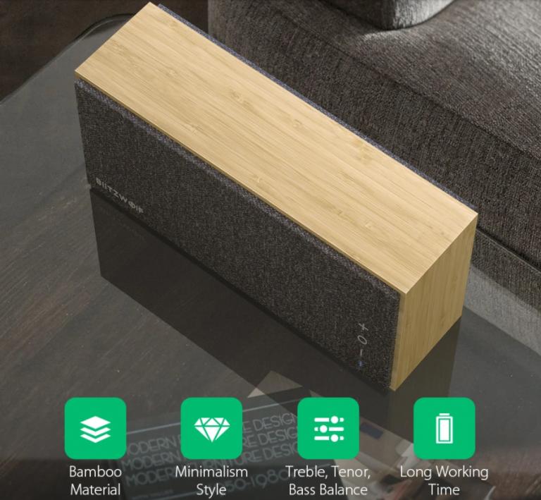 Bambuszházas Bluetooth hangszórót mutatott be a BlitzWolf 2