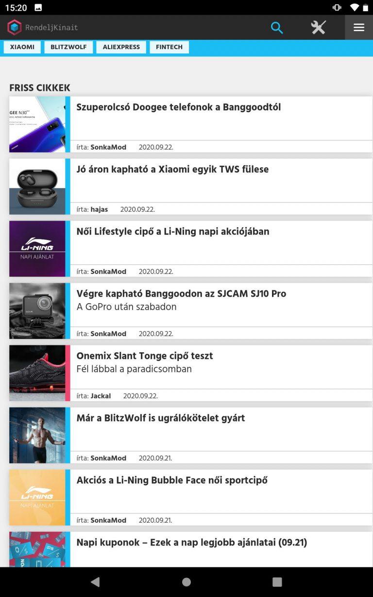 Alldocube iPlay 20 tablet teszt 16