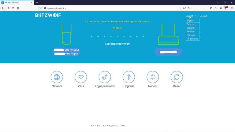 Blitzwolf BW-NET3 WiFi repeater teszt 12