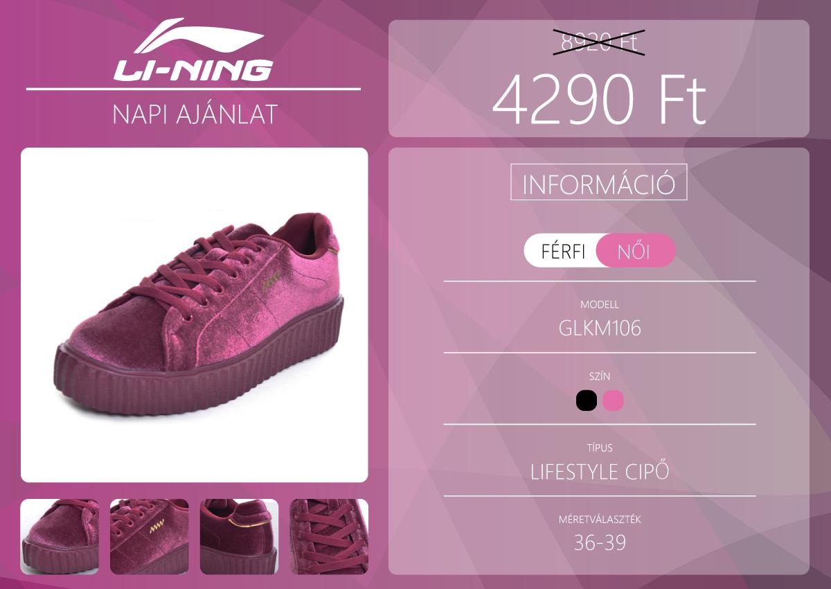 Divatos női cipő a Li-Ning napi akciójában 2