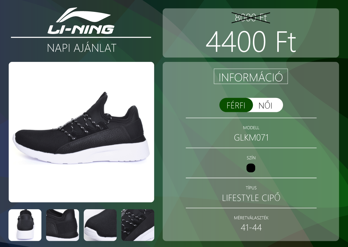 Férfi utcai sportcipő a Li-Ning napi ajánlatában 2