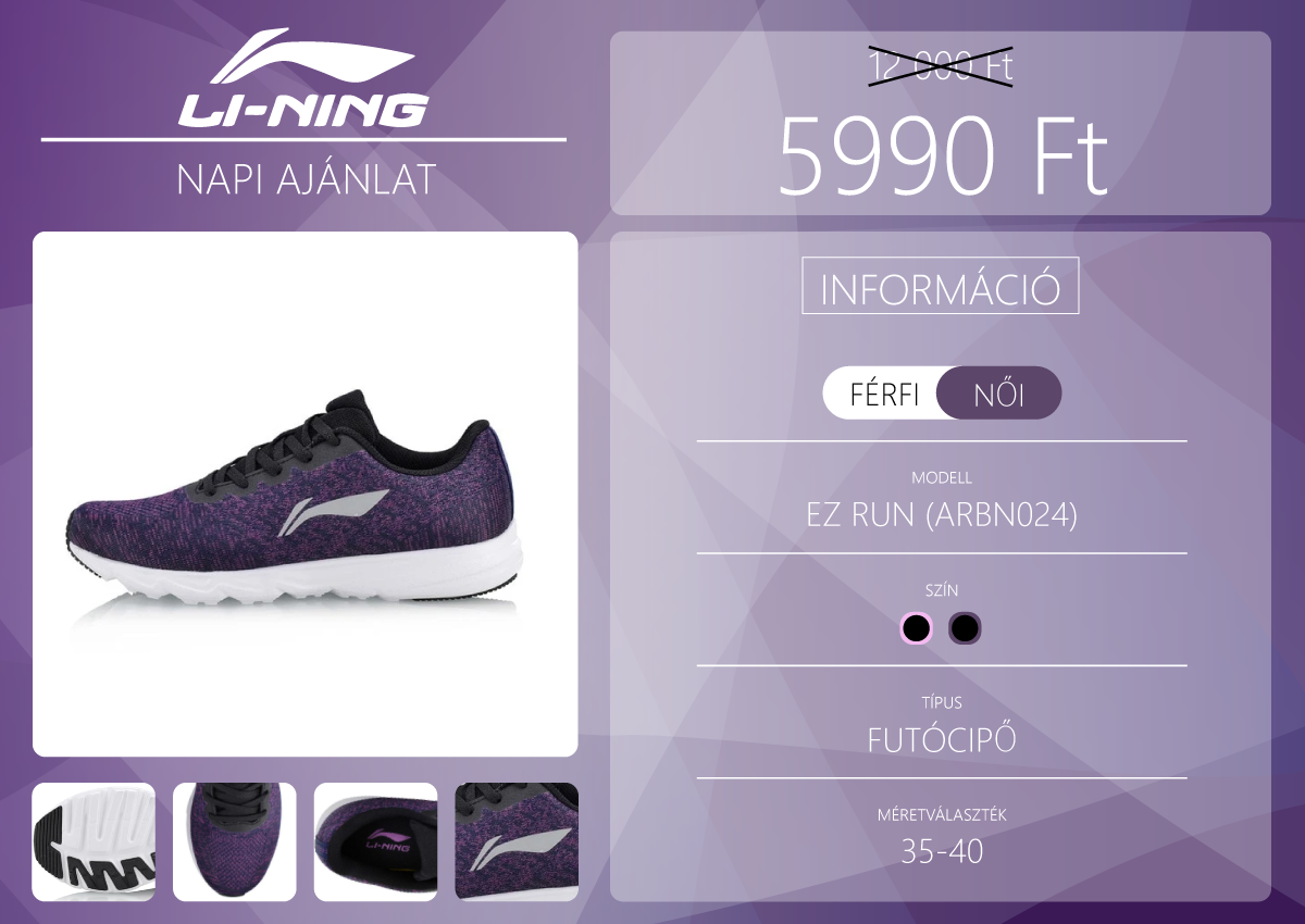 Li-Ning EZ RUN női futócipő 6000 forintért 2