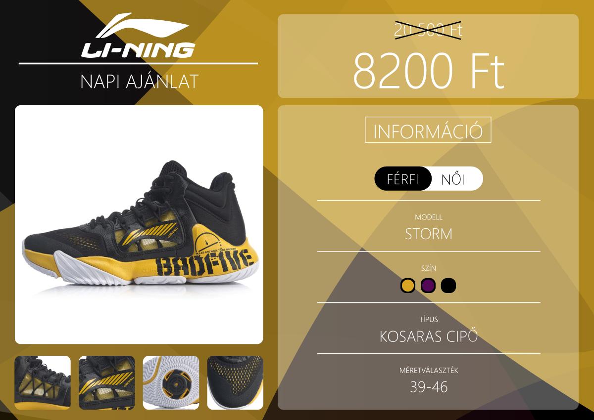 Storm kosaras cipő a Li-Ning napi ajánlatában 2