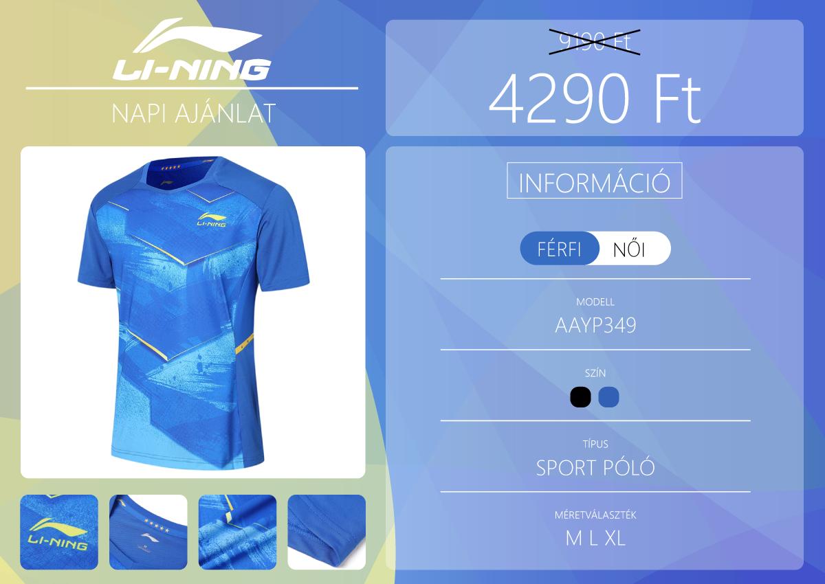 Nedvességszívó sport póló a Li-Ningtől 2