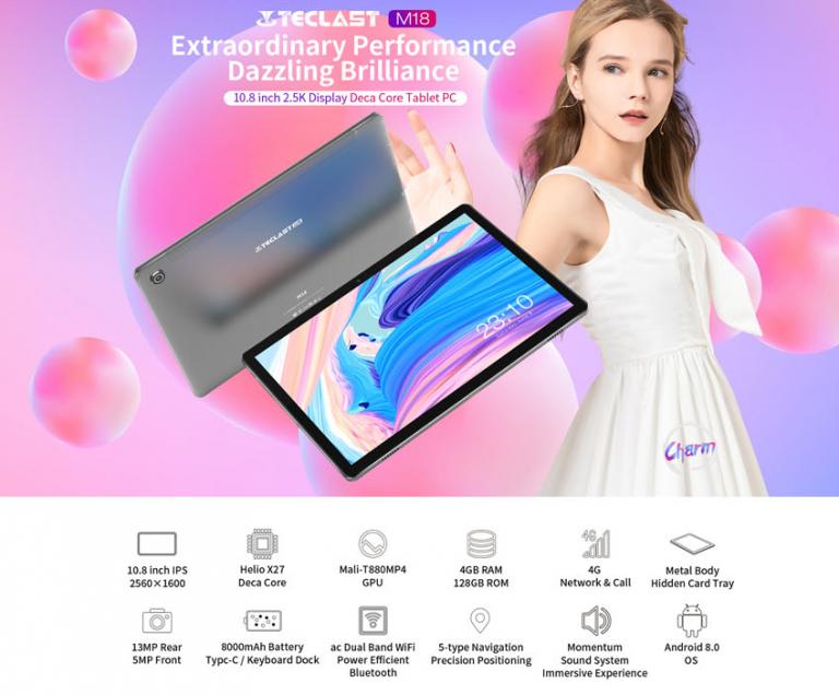 Teclast M18 tablet: 4 GB RAM, 128 GB ROM, 10 mag 2