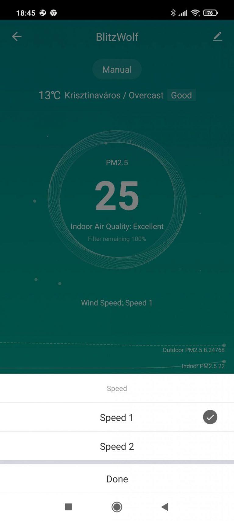 BlitzWolf BW-AP1 légtisztító teszt 12