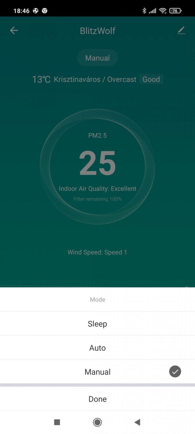 BlitzWolf BW-AP1 légtisztító teszt 13