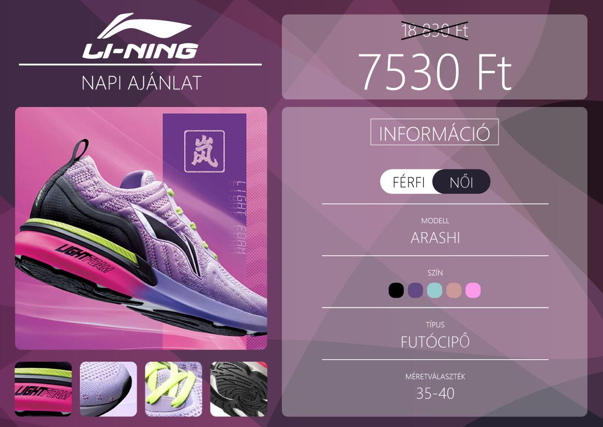 Li-Ning Arashi női futócipő ötféle színben 2
