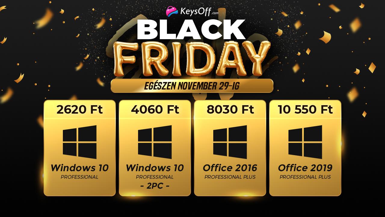 Windows 10 Pro 2600 forintért a Black Friday-en 2