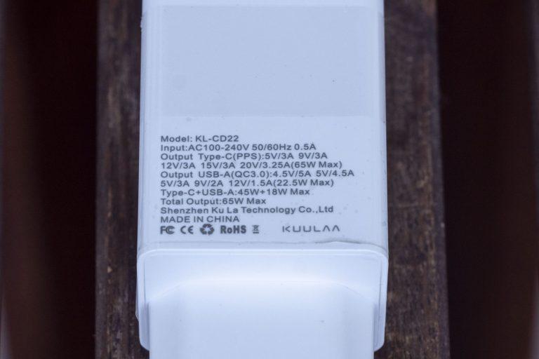 Kuulaa 65 W-os USB töltő teszt 5