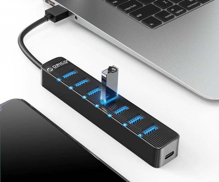 Bitang olcsó 7 portos USB hub az Oricotól 5