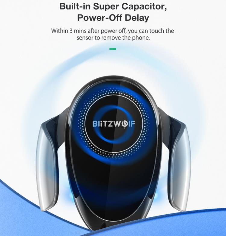 15 wattos vezeték nélküli töltés a BlitzWolf új autós tartójával 6
