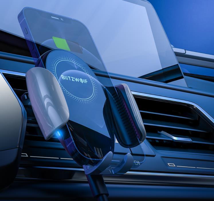 15 wattos vezeték nélküli töltés a BlitzWolf új autós tartójával 2