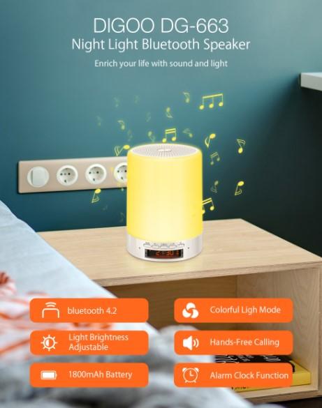 BT hangszóró, ébresztő, éjjeli fény egy kütyüben: Digoo DG-663 2