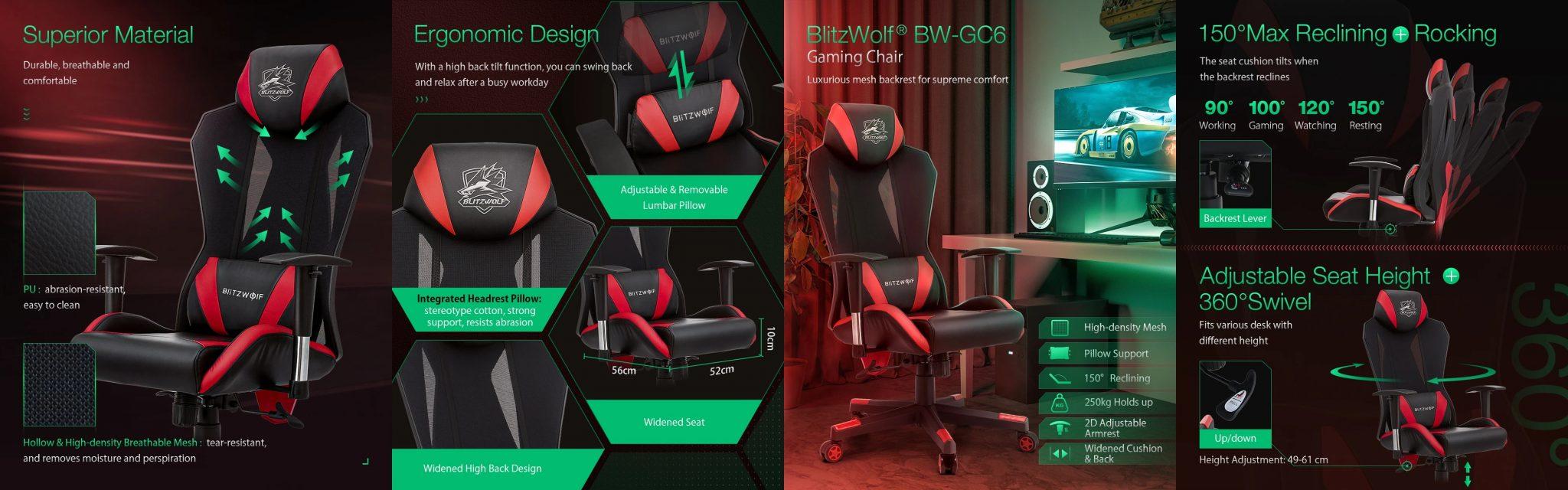 BlitzWolf BW-GC6 gamer szék teszt 30