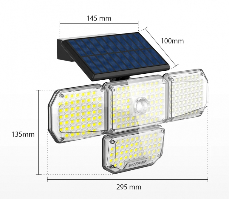 214 LED van az új mozgásérzékelős, napelemes BlitzWolf lámpán 8