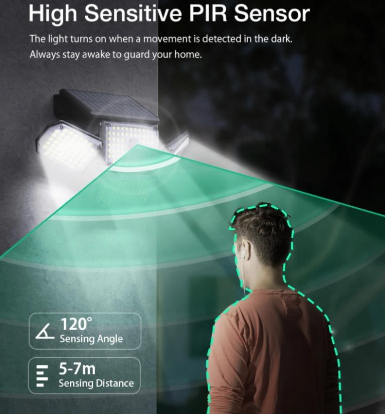 214 LED van az új mozgásérzékelős, napelemes BlitzWolf lámpán 4